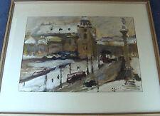 Winterliche Stadtszene, unleserlich signiert, datiert 1969, Öl auf Papier