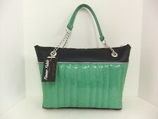 Femme Fatale Madame Dahlia Bag Mint Green Sparkle/Black Pinup Rockabilly Hotrod