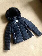 Zara Black Hooded Down Water Resistant Puffer Jacket Coat Size S UK10 Bnwt