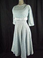 Vtg 50s Blue Floral Lace Full Party Dress & Bolero 2 pcs-Bust 34/2XS