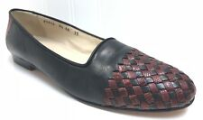 COLE HAAN Women's 9.5 AA Black Brown Woven Toe Leather Flats Made In Italy EUC