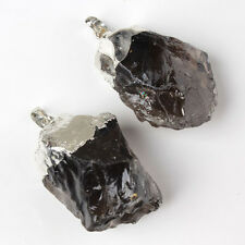 Silver Plated Smokey crystal Natural Stone Random Form Beads Pendant Jewelry