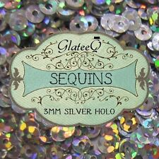 GlateeQ 20g Silver Holo 3mm Sequins - Nail Art, Craft and Ciate Style Manicure