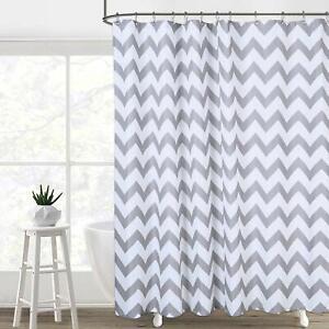 "96"" Extra Long Gray White Striped Geometric Farmhouse Fabric Shower Curtain"