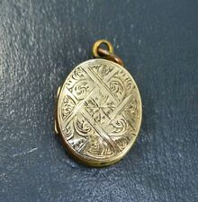 Antique 9k GOLD B&F Double Sided DAY & NIGHT Locket - Lattice Design & Cartouche
