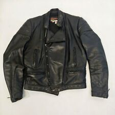 vintage RARE BROOKS BLACK LEATHER POLICE MOTORCYCLE CAFE BIKER JACKET USA 38
