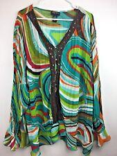 Maggie Barnes Top 4X Blouse Geometric Print Vibrant Colors Crochet Sequin T18