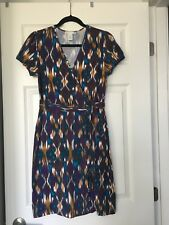 Design History Womens Short Sleeve Dress  Printed V-neck Belted Size M