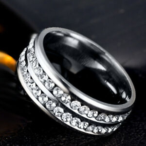 Sparkling 925 Silver Crystal Band Ring Jewelry Rings for Womens Mens Wide 8mm