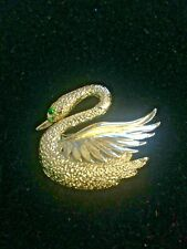Vintage Signed Gerry's Small Swan Brooch Pin Textured Gold Tone Green Rhinestone
