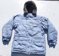 Womens The NORTH FACE Baby Blue Fur Hooded Goose Down Puff Parka Jacket Small