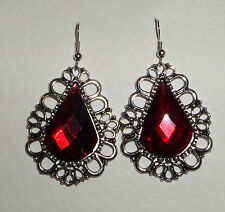 DRAMATIC LARGE RED FACETED ACRYLIC CRYSTAL SILVER PL PRINCESS EARRINGS