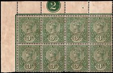 CEYLON QV 1893 MINT UNHINGD NUMBERED MARGINAL GREEN 3C BLOCK OF 8 WITH ORI.GUM