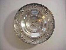 Antique 800 sterling SILVER Footed BOWL with DEER STAGS REPOSE DESIGN UNO A ERRE