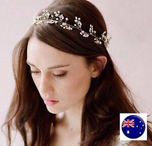 Women Lady wedding Pearl Crystal Hair Tiara Crown Wire Headband Prop Garland