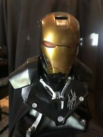 """IRON MAN SIGNED By """"STAN LEE""""  LIFE SIZE BUST BLACK STATUE Avengers EXCELSIOR"""