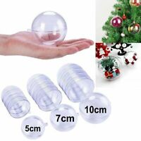 5/20PCS Plastic Ball Clear Baubles Sphere Fillable Christmas Ornament Craft Gift