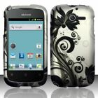 For Huawei Ascend Y H866C Rubberized HARD Case Snap On Phone Cover Black Vines
