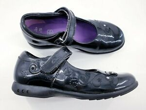 Clarks Lights size 11.5 F black patent leather Mary Jane strap flat school shoes