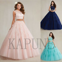 2 Pieces A-line Ball Gown Puffy Appliques Beaded Evening Formal Prom Party Dress