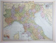 1920 LARGE MAP ITALY NORTH ~ GENOVA ELBA UMBRIA VERONA TREVISO