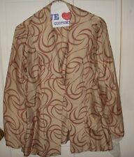 Handmade/Sewn Four Piece Cafe Latte w/Brown Pattern Pants Suit - 12? - VINTAGE