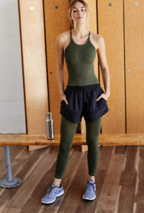 NEW Free People Movement Happiness Runs Onepiece Washed Army XS/S-M/L $80