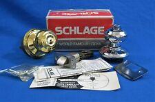 SCHLAGE - Brass / Chrome -Bath / Bedroom Privacy Door Knob Set -F40N Geo 605/625