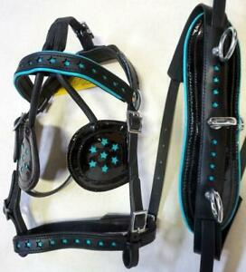 Star Cutouts- Teal o/Blk Leather Mini Sh Pony Driving show training cart harness