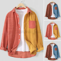Mens Corduroy Tops Buttons Down Casual Loose Patchwork Long Sleeve Shirt Blouses