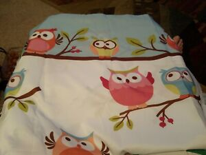 SATURDAY KNIGHT WHIMSICAL COLORFUL OWL FABRIC SHOWER CURTAIN