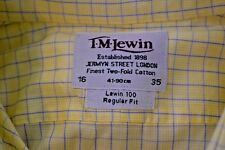 T.M. Lewin Shirt 16 35 Regular Fit Blue Yellow Check Cotton French Cuff