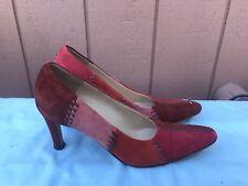 Salvatore Ferragamo US 8 2A Suede Patchwork Pumps Shoes Red Rust Multi-Color A2