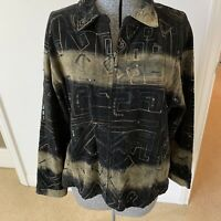 CHICO'S Womens Sz 3/XL Velour Zipper Jacket In Green And Black  EUC