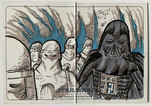Star Wars - ESB - Vader & Snowtroopers - Topps Panoramic Sketch Card By D. Notes