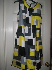 Kate Spade Della Dress Womens Geometric Colorblock, Gray Yellow White Size 6