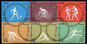 LIBYA, Sc #263a, MNH, 1964, Imperf., block of six, Olympics, IDD-B