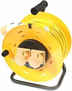 SMJ 110v Extension Lead Cable Reel 50m 25m 2 Socket Yellow 16A 1.5mm