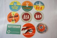 Airline Aviation Luggage Label x9 BEA Air France Austrian Airlines National