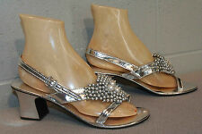 7.5-8 NOS  Silver Metallic Beaded Vtg 60s 70s SlingBack Chunky HIGH Heel Shoe