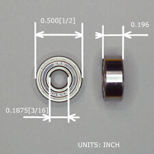 Shielded Ball Bearing OD:1/2 ID:3/16 MinebeaMisumi Part# NMB R-3HH Made in Japan