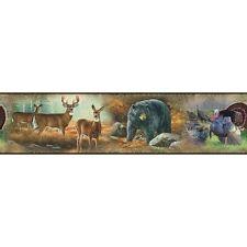 HUNTING OUTDOORS Great Wildlife 15' Wall Border Decals Wallpaper Bear Deer Tree