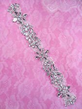 DH39 Pearl Applique Crystal Clear Silver Beaded Rhinestone Patch 10""