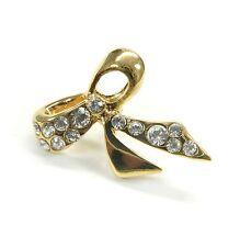 Neu BROSCHE farbe gold SCHLEIFE mit STRASSSTEINE kristallklar/klar STRASS