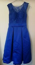 Blue Cocktail / Party Dress  with lace top, size 8.  VGC.