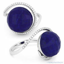 Cocktail Ring in 14k White Gold 9.29ct Blue Lapis Lazuli Diamond Halo Right-Hand