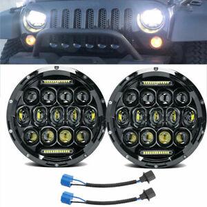 2X 7'' LED Hi/Lo Beam DRL Headlight For Wrangler Dodge Hummer Chevy Land Rover