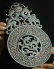Old natural hetian jade hand-carved statue dragon bi plate pendant 8.7 inch