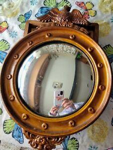 Antique Federal American Eagle Convex Gold wood Wall Mirror.
