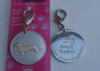 DACHSHUND DOG ID TAG - SAUSAGE DOG CHROME PET TAG HAND OR MACHINE ENGRAVED FREE